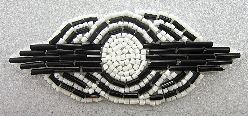 "Designer Motif Tri-Circle  with Black and White Beads 3"" X 1.5"