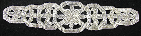 "Designer Motif Belt Line with Silver Beads Pearls and Rhinestone 11"" x 3"""