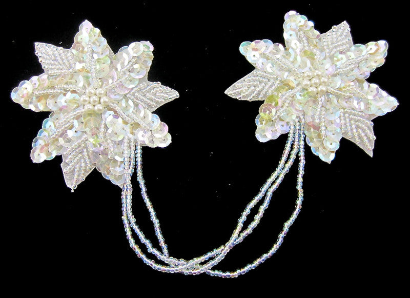 "Flower Pair Iridescent Attached by Beads  3"" x 3"""
