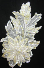 "Flower White Sequins with Lite Yellowish Tinges of Iridescent Sequins 10"" x 5.5"""