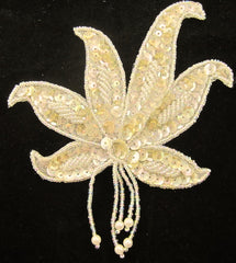 "Epaulet with White Sequins and Beads 5"" x 5"""