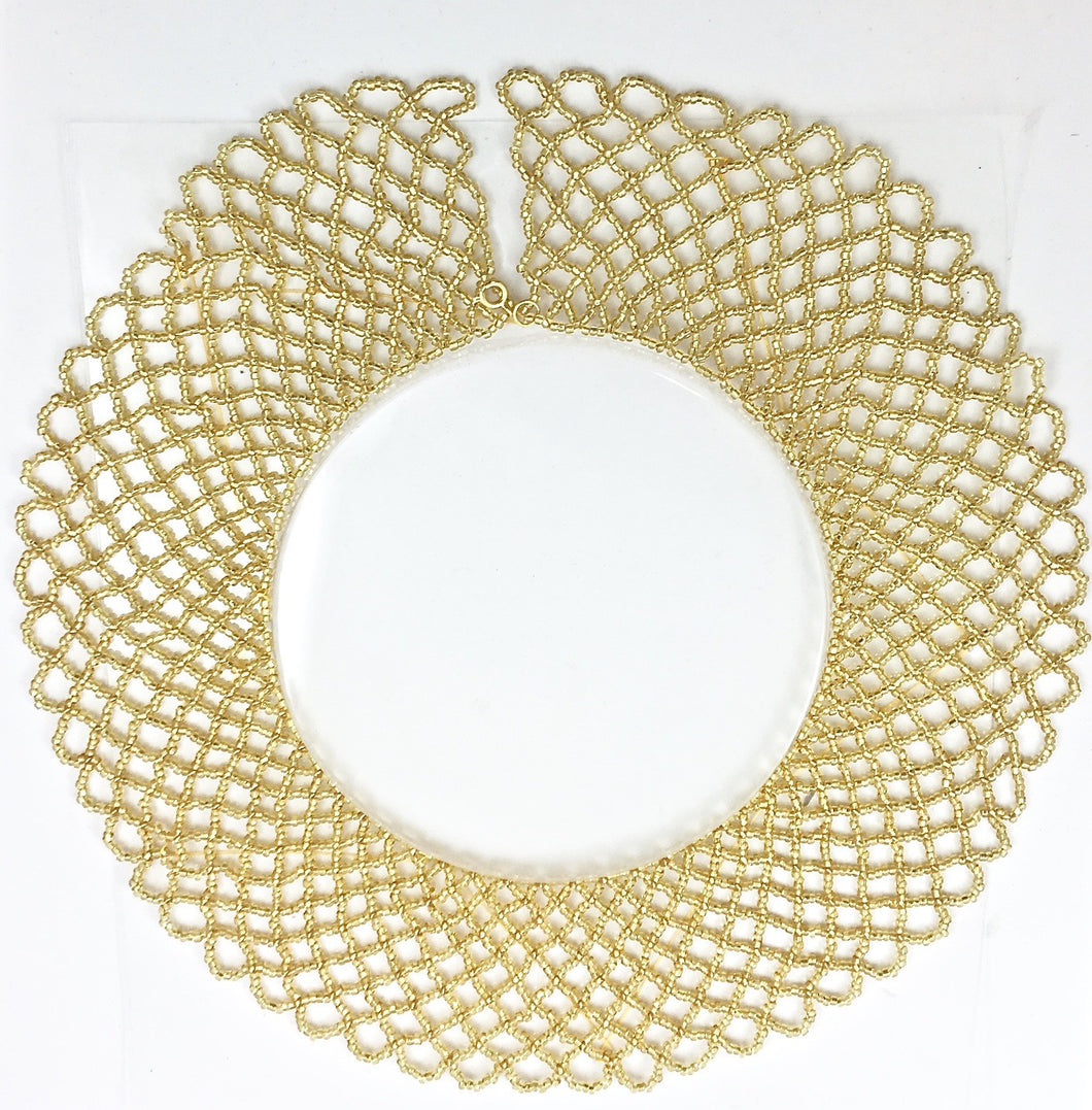 Gold Beaded Collar Necklace with Clasp 16.5
