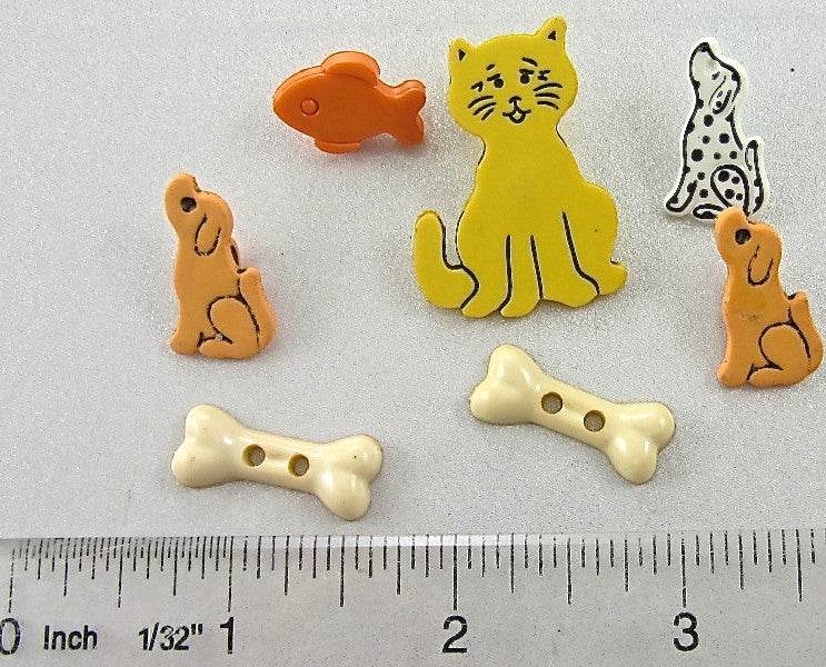 Buttons Dog Fish Bone Cat for Child