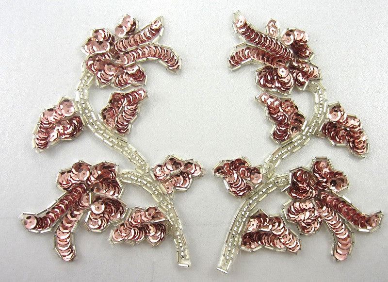 "Flower Pair with Pink Sequins and Beads 5.5"" x 3"""