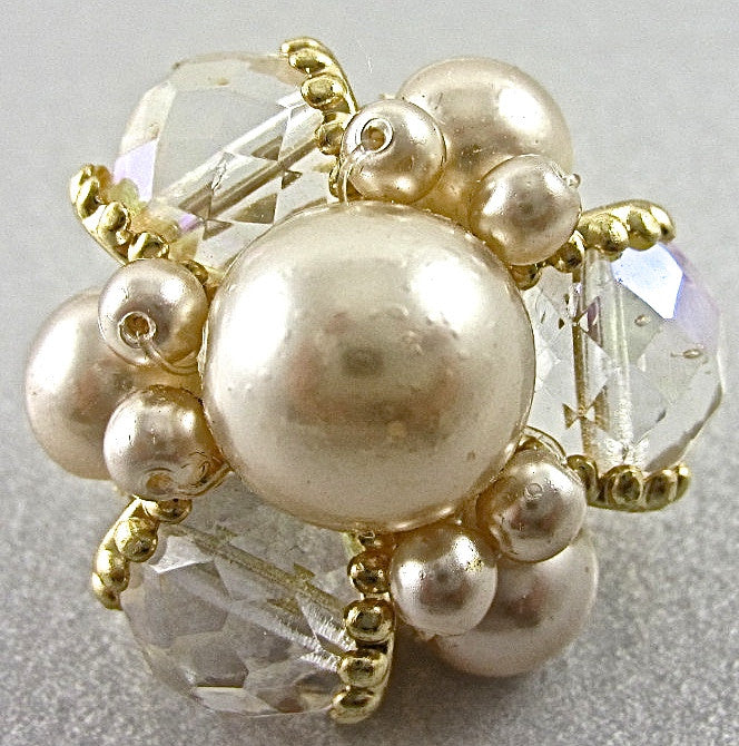 Button Crystal AB Rhinestone White Pearls and Gold Beads 1""