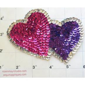 "Hearts with Fuchsia and Purple Sequins Silver Trim  3.5"" x 4.5"""