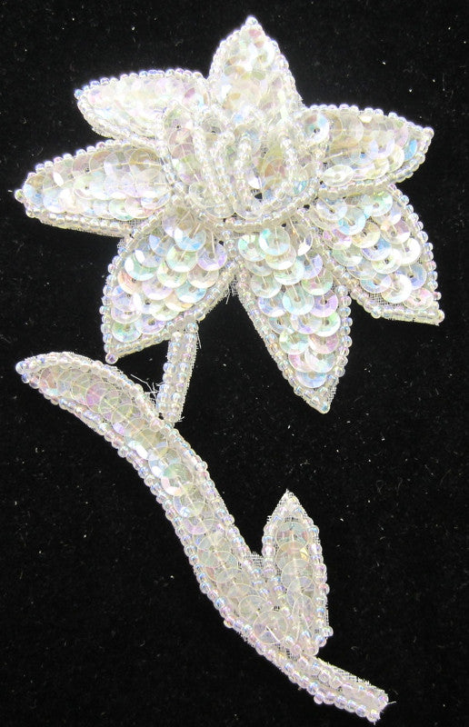 "Flower with Iridescent Sequins and Beads 4.5"" x 3"""