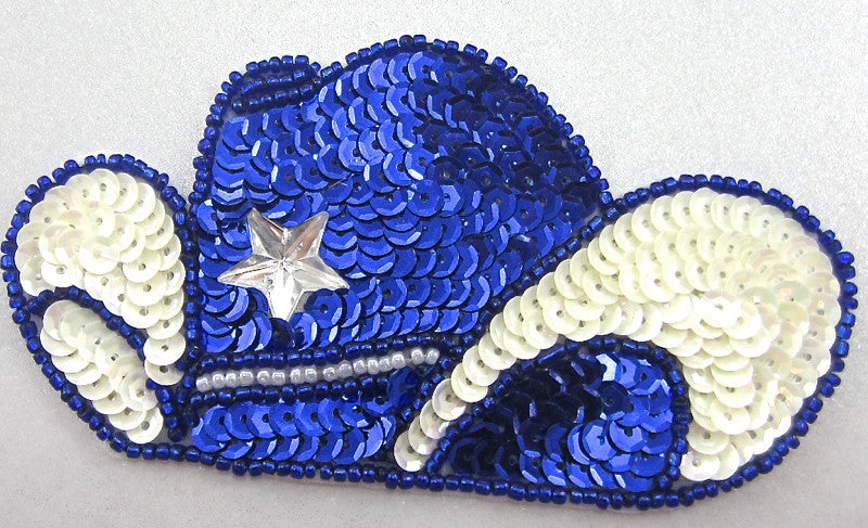 "Hat Cowboy Blue and White with 4 Star 4.5"" x 2.5"""