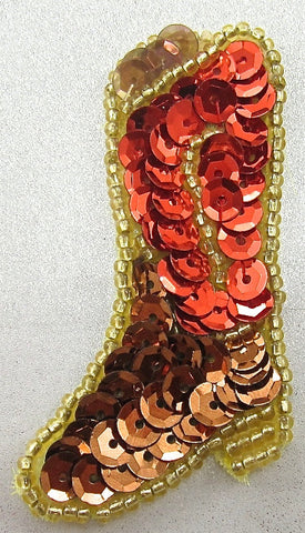 "Boot Cowboy with Red and Bronze Sequins 2.25"" x 1"""