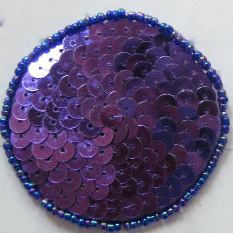 Circle Dot with Purple Sequins and Beads, 10 Pack Various Sizes