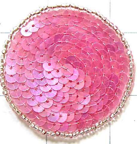 "6 PACK Circle and Dot with Iridescent Medium Color Pink 2"" - Ten Pack"