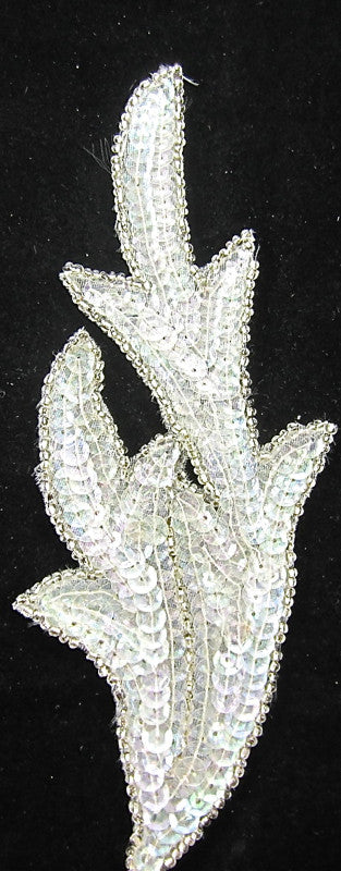 Leaf Crystal Iridescent Sequins with Silver Beads 7