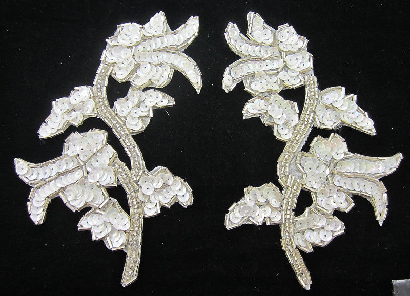 "Flower Pair with White Sequins and Crystal Beads 5"" x 3.5"""