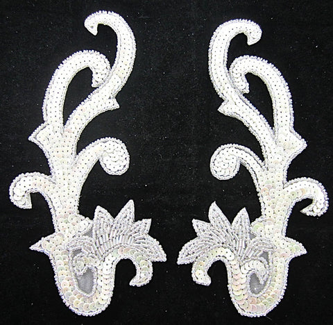 "Designer Motif Pair China White Sequins Iridescent Beads   8"" x 4"""