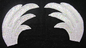 "Designer Motif Pair Leaf  Wings with Iridescent Sequins and Beads 6"" x 4"""