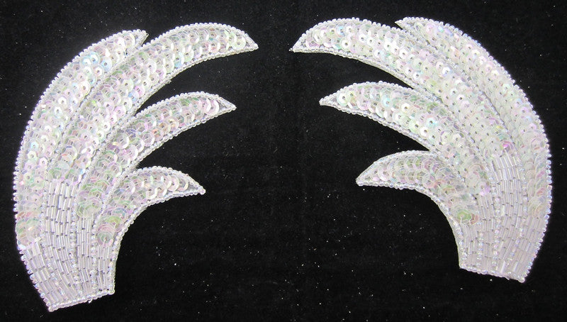 Designer Motif Pair Leaf  Wings with Iridescent Sequins and Beads 6