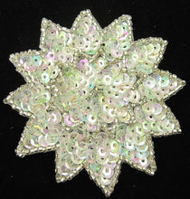 Load image into Gallery viewer, Flower with Iridescent Sequins Silver Beads and Rhinestone 3""