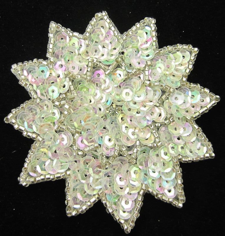 Flower with Iridescent Sequins Silver Beads and Rhinestone 3