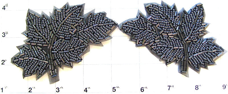 "Leaf Pair with Charcol Beads 4"" x 2.5"""