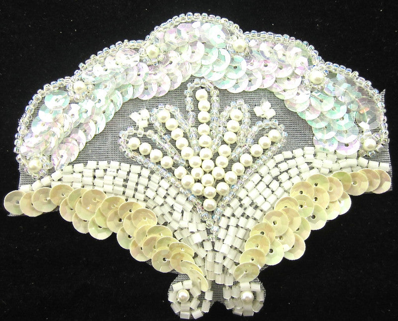 "Designer Motif with Iridescent and Creamy White Sequins White Pearls and Beads 3"" x 3.5"""