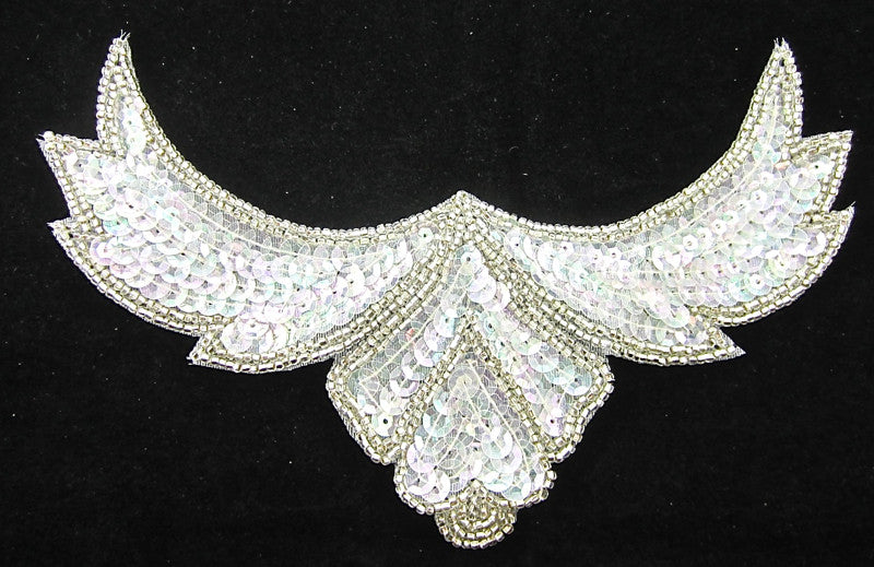 "Designer Motif Neck Line with Iridescent and Silver Beads 8"" x 6"""
