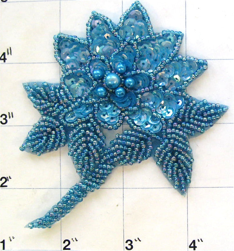 "Flower with Teal Colored Sequins and Beads 4"" x 3.5"""