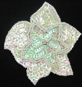 Flower with Iridescent AB Sequins and Rhinestone 4""