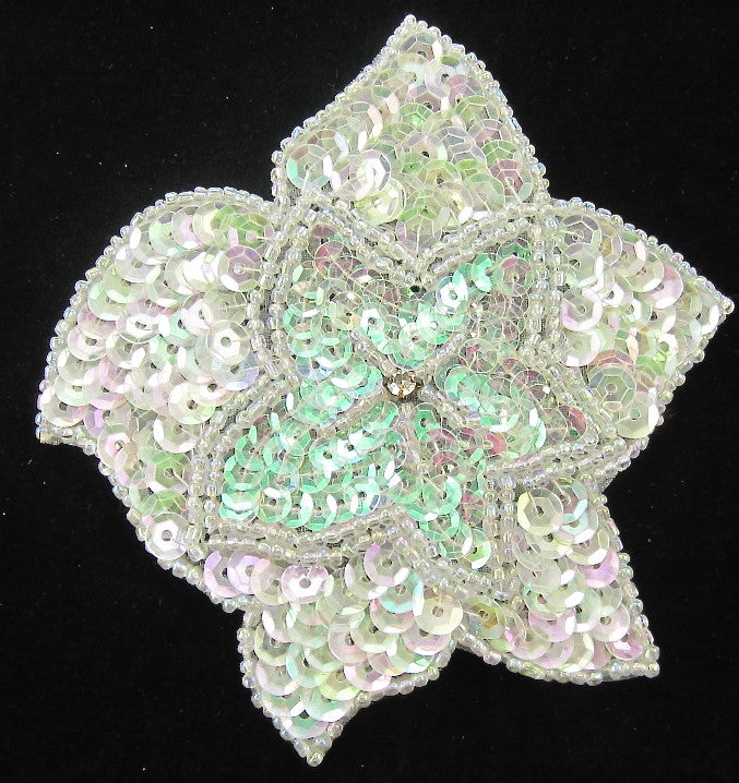 Flower with Iridescent AB Sequins and Rhinestone 4