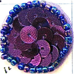 6 PACK Circle Dot with Purple Sequins and Beads, 10 Pack Various Sizes