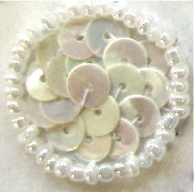 Circles and Dots with China White Flat Sequins and Beads 1""