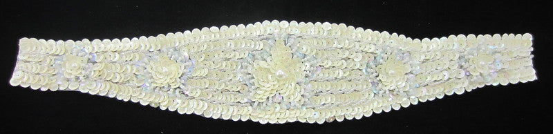 Designer Motif Belt Line with Light Cream Flowers Beads and Pearls 14
