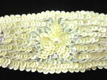 Load image into Gallery viewer, Designer Motif Belt Line with Light Cream Flowers Beads and Pearls 14""