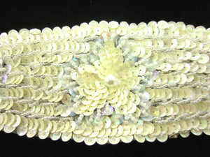 Designer Motif Belt Line with Light Cream Flowers Beads and Pearls 14""