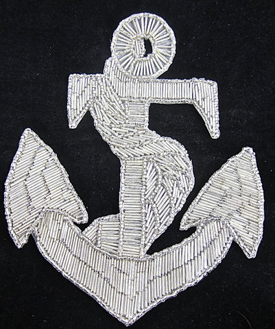 "Anchor Large Silver Beaded 9"" x 7"""