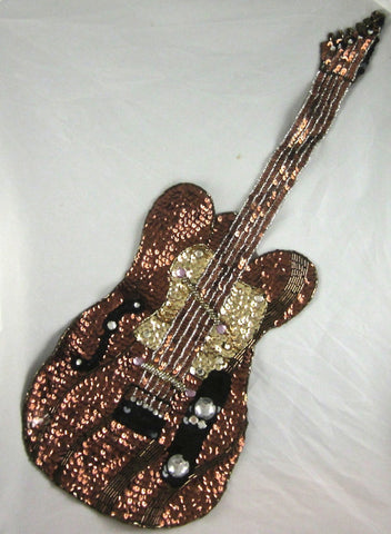 "Guitar w/ Bronze and Black Sequins and Beads and Light Purple and Clear Rhinestones 16"" x 6.5"""