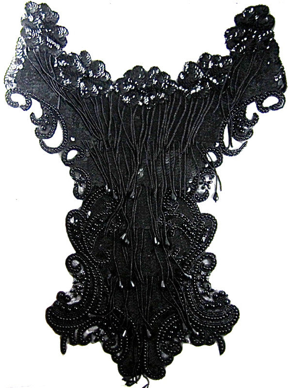 "Designer Motif Full Body Black Sequins and Beads  22"" x 14"""