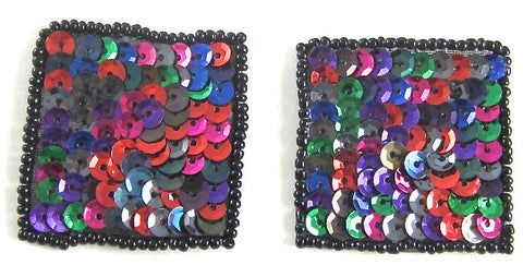 Designer Faux Squares with Multi-Colored Sequins Black Beads 1.5""