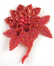 "Load image into Gallery viewer, Flower with Red Sequins and Multi-Colored Beaded Leafs 4"" x 3.5"""