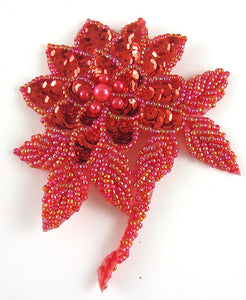 "Flower with Red Sequins and Multi-Colored Beaded Leafs 4"" x 3.5"""