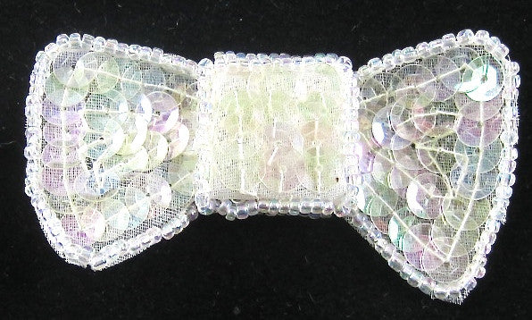 "Bow Iridescent Sequins and Beads  1.5"" X 2.25"""