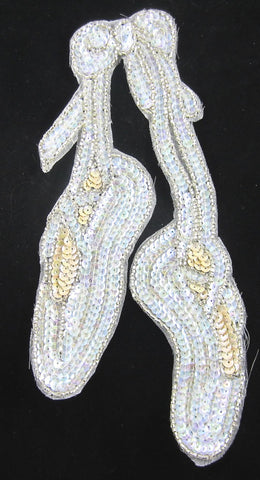 "10 PACK  Ballet Slippers with Iridescent and Cream Beads and Sequins 9"" x 4"""