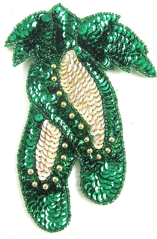 "Ballet Slipper with Green Sequins and Beads 5.5"" x 3.5"""