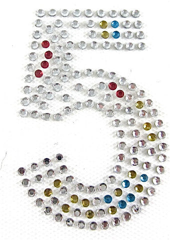 Number 5 (Five) Hot Fix Iron-On Heat Transfer with Multi-Color Rhinestones 2""