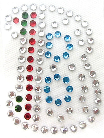 Letter B Hot Fix Iron-On Heat Transfer with Multi-Color Rhinestones 2""