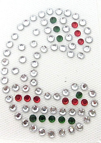 Letter C Hot Fix Iron-On Heat Transfer with Multi-Color Rhinestones 2""