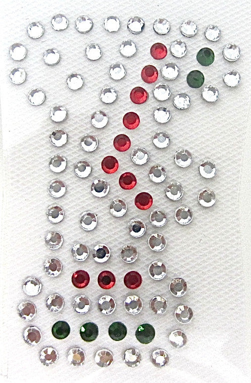Letter F Hot Fix Iron-On Heat Transfer with Multi-Color Rhinestones 2""