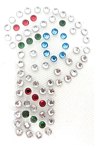 Letter P Hot Fix Iron-On Heat Transfer with Multi-Color Rhinestones 2""