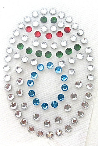 Letter O Hot Fix Iron-On Heat Transfer with Multi-Color Rhinestones 2""
