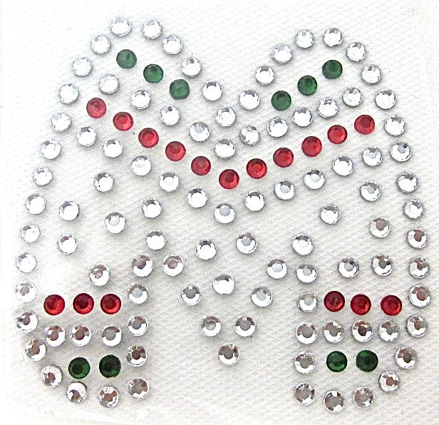 Letter M Hot Fix Iron-On Heat Transfer with Multi-Color Rhinestones 2""