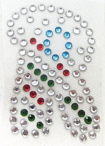 Letter R Hot Fix Iron-On Heat Transfer with Multi-Color Rhinestones 2""